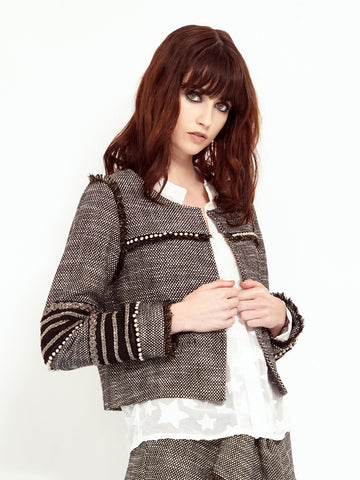 Tweed Embellished Jacket<BR><H1>混色毛呢夾克</H1>