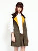 Night Bazzar Sleeveless Jacket<br><h1>拼色麂皮翻領長背心</h1>