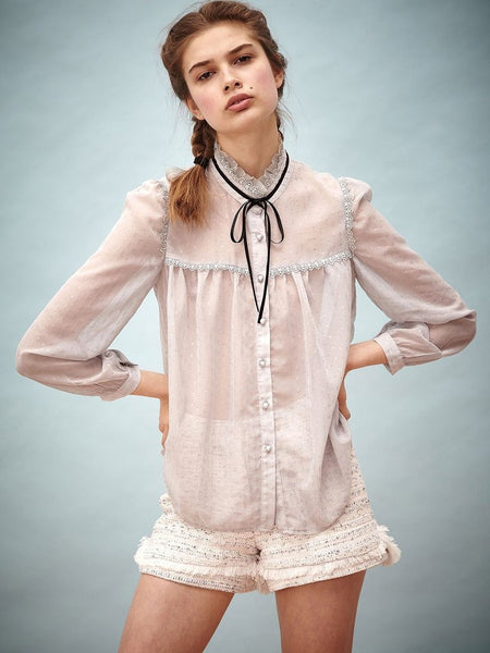 Up in Clouds Pucker Blouse