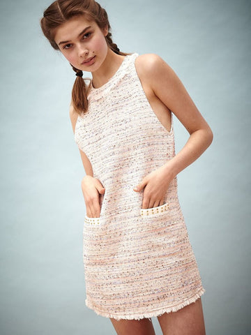 Peach Babe Tweed Dress