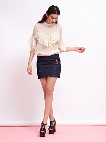 Papillon Denim Skirt