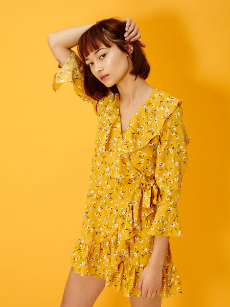 Yellow Flower Puff Dress