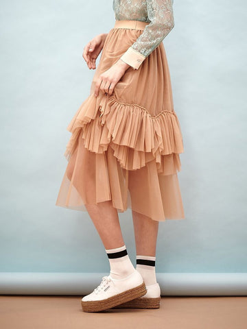 Billows Tulle Midi Skirt