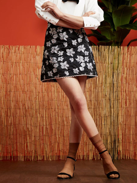 Branch Out Jacquard Skirt