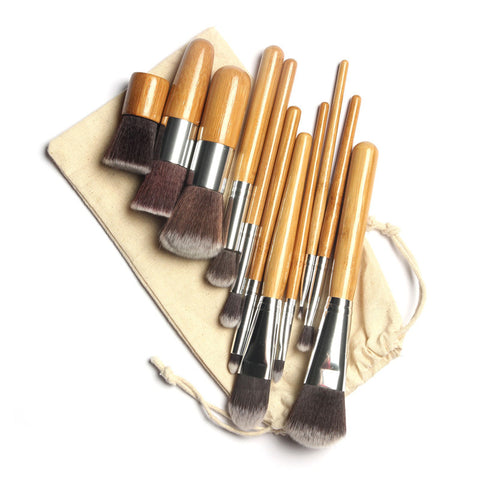11 Piece Wooden Handle Makeup Brush Set