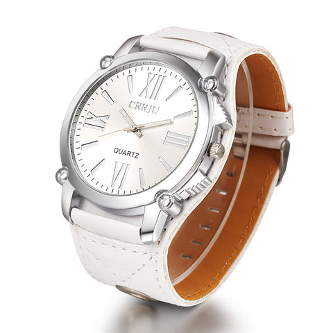 CRRJU Leather Quartz Watch