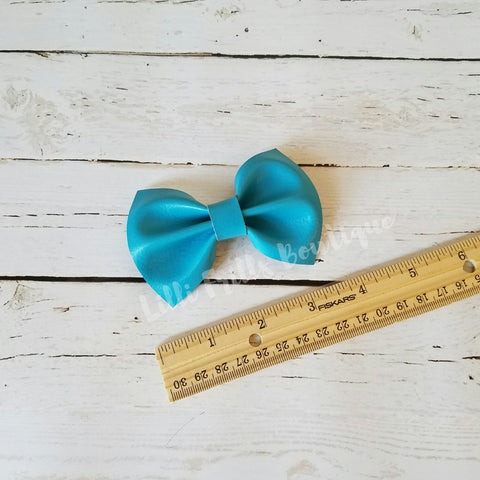 Turquoise - Faux Leather - Grace Bow