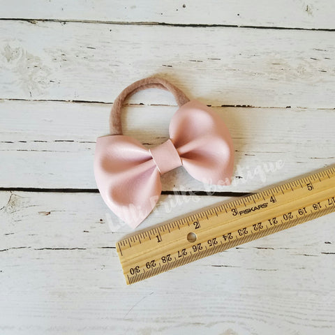 Light Pink - Faux Leather - Grace Bow