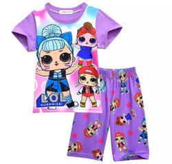 Purple LOL summer PJs Sz 3-9