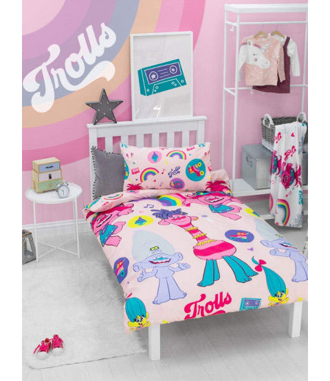 Trolls world tour Single bed reversible quilt cover set
