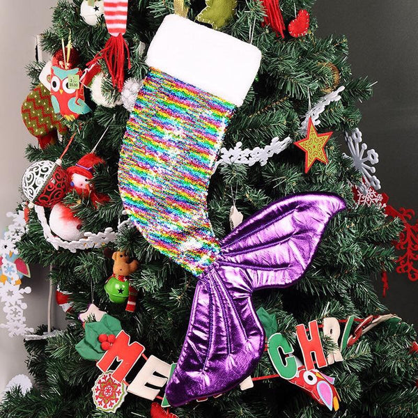 IN STOCK Metallic multi colour sequin mermaid stocking