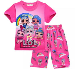 Pink rainbow LOL surprise doll pjs Sz 3-9