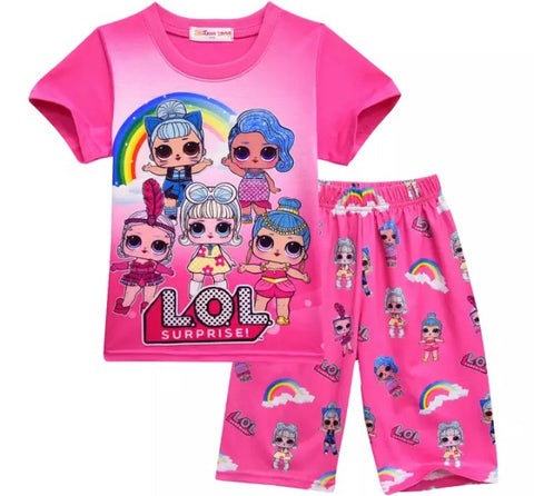 Pink rainbow LOL surprise doll pjs Sz 3