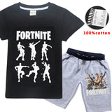 Fortnite Summer set Black Tee/ Grey shorts IN STOCK