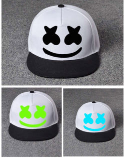 Marshmello flat cap hat, 3 colours glow in the dark