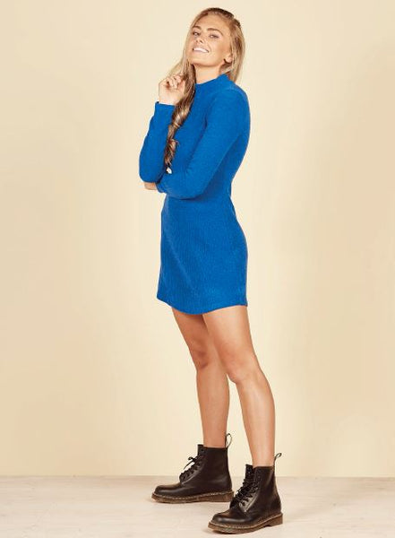 Daisy Land Ribbed Dress - BLUE