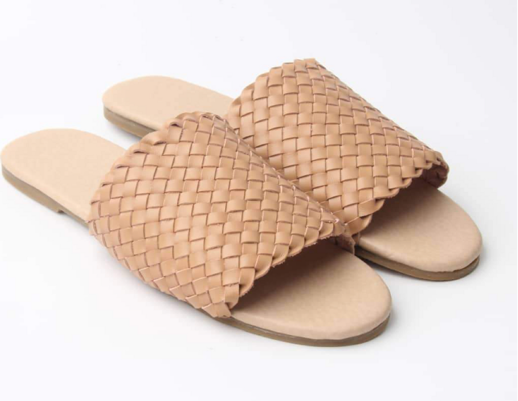Salted Weave Leather Slides
