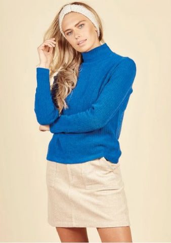 Daisy Land Ribbed Top - BLUE