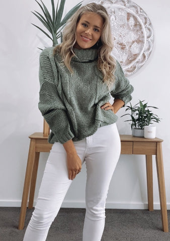 Elle Cable Knit - KHAKI