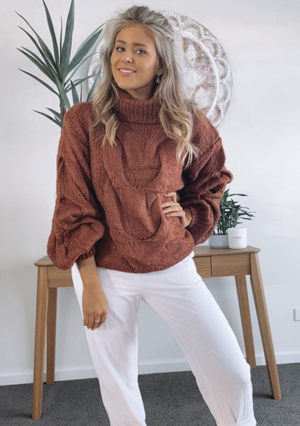 Elle Cable Knit - RUST