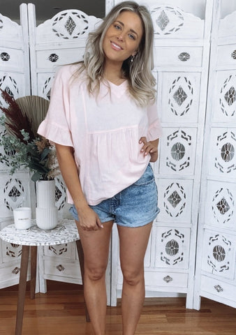 Lulu Ruffle Top - BLUSH