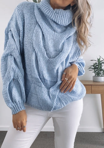 Elle Cable Knit - POWDER BLUE