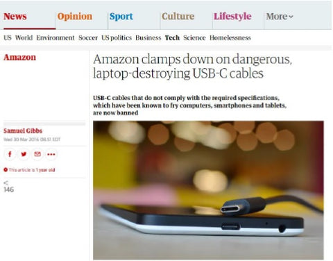 Amazon clamps down on dangerous, laptop destroying USB-C Cables