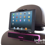 Universal Headrest Mount for most Tablets with In-Vehicle Charging, Built-in IR & FM Transmitter.
