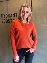 V NECK RIBBED COTTON JUMPER - RUST