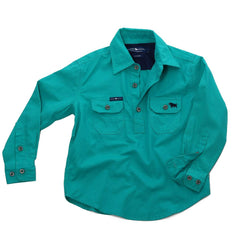 RINGERS WESTERN KIDS HALF BUTTON WORK SHIRT - DEEP MINT