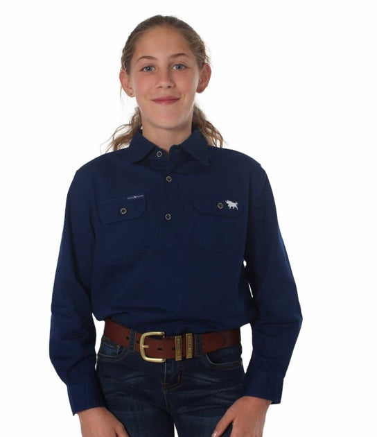 RINGERS WESTERN KIDS HALF BUTTON WORK SHIRT - NAVY