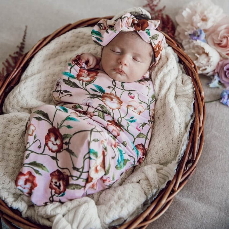 SNUGGLE SWADDLE & TOPKNOT SET - PANSY HEART