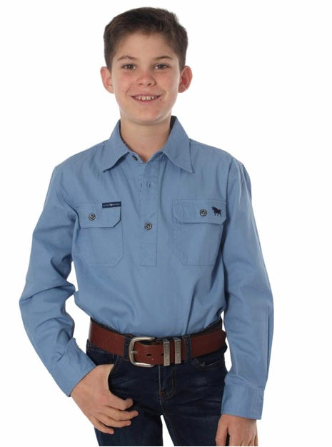 RINGERS WESTERN KIDS HALF BUTTON WORK SHIRT - DENIM