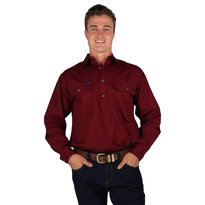 RINGERS WESTERN KING RIVER HALF BUTTON WORK SHIRT - BURGUNDY