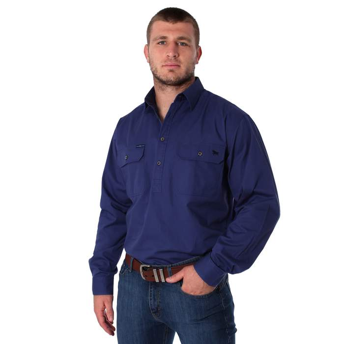 RINGERS WESTERN KING RIVER HALF BUTTON WORK SHIRT - STEEL BLUE