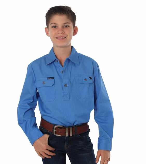 RINGERS WESTERN KIDS HALF BUTTON WORK SHIRT - BLUE