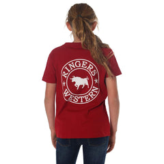 RINGERS WESTERN KIDS SIGNATURE BULL T-SHIRT - RED