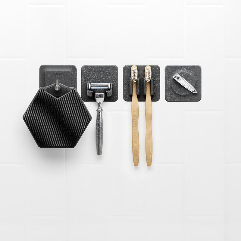 4 IN 1 BATHROOM STORAGE TILES - CHARCOAL