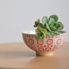 HAND STAMPED BOWL SMALL - RED