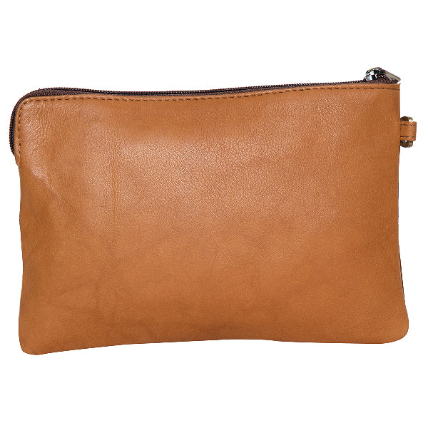DETROIT - COWHIDE CLUTCH - TAN