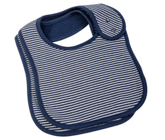 NAVY FINE STRIPE - 2PC BIB SET