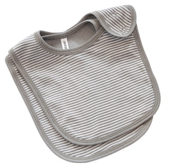 GREY FINE STRIPE - 2PC BIB SET