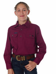 RINGERS WESTERN KIDS HALF BUTTON WORK SHIRT - WINE