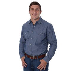 RINGERS WESTERN TAMWORTH MENS SLIM FIT WESTERN SHIRT BLUE CHAMBRAY