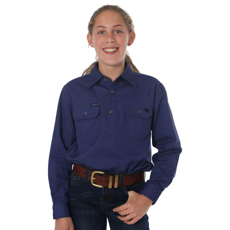RINGERS WESTERN KIDS HALF BUTTON WORK SHIRT - STEEL BLUE