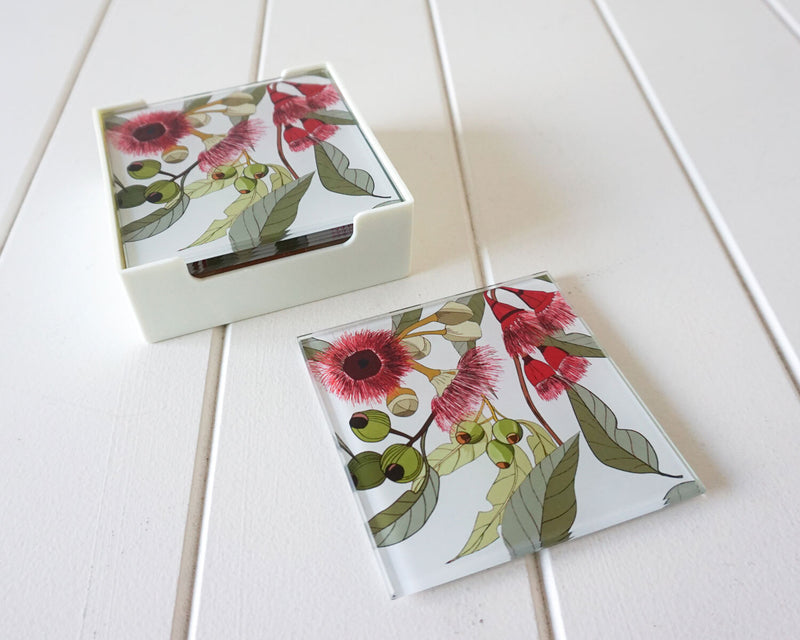 GLASS COASTERS - FLOWERING GUM WHITE