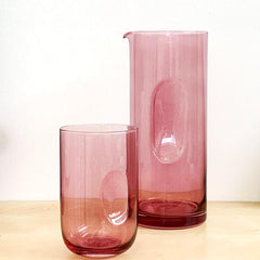 DIMPLE GLASS CARAFE - PLUM