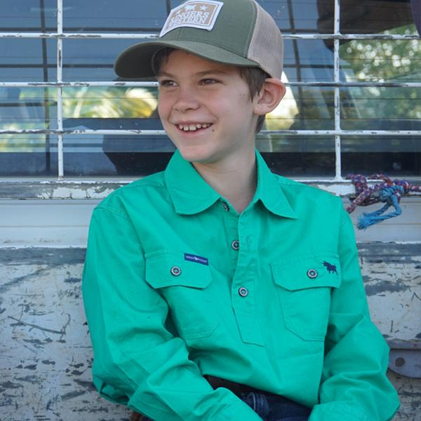 RINGERS WESTERN KIDS HALF BUTTON WORK SHIRT - GREEN