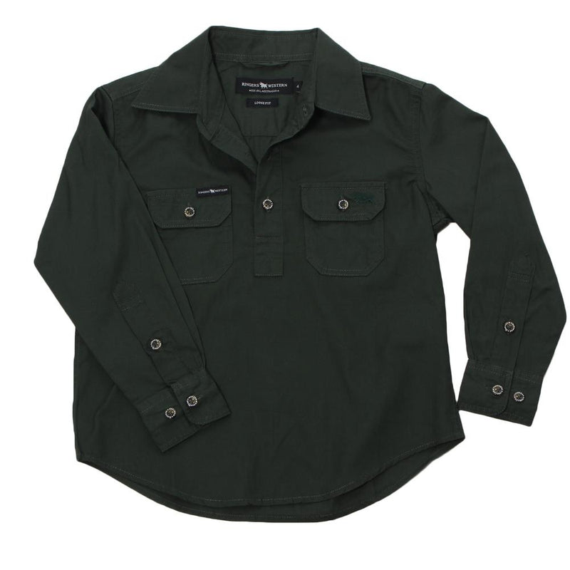RINGERS WESTERN KIDS HALF BUTTON WORK SHIRT - KHAKI