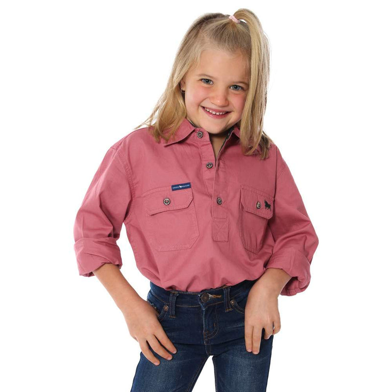 RINGERS WESTERN KIDS HALF BUTTON WORK SHIRT - DUSTY ROSE